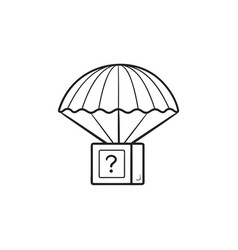 package parachute airdrop hand drawn outline vector image