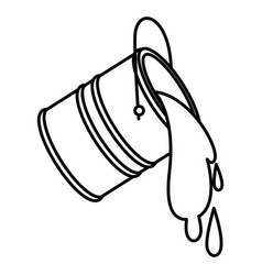 paint bucket spilling icon in black contour vector image
