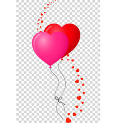 Pair of bounded realistic heart shaped helium red vector
