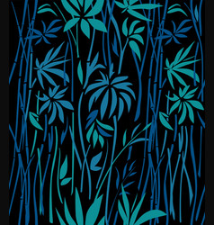 Pattern of bamboo overgrown on a black background vector