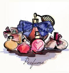 Perfumes drawn in watercolor vector