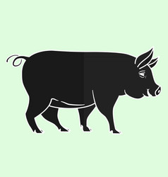 Pig black piglet silhouette isolated on light vector