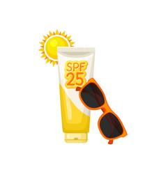 Plastic tube of sunblock lotion bright sun and vector