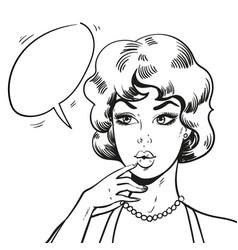 pop art woman wondering pin up blond woman vector image