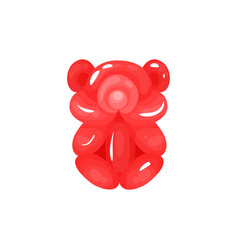 red glossy bear twisting of inflatable balloons vector image
