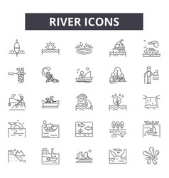 river line icons signs set outline vector image