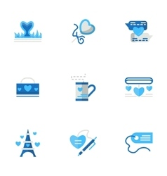 Romantic adventures blue flat icons vector image