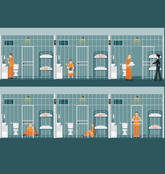 Rows prison cells with life in jail vector