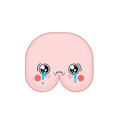 Sad kawaii ass cute cartoon funny butt crying vector