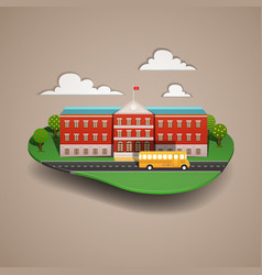 school bus at the school paper cut style vector image