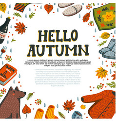 set autumn icons sweater falling leaves vector image