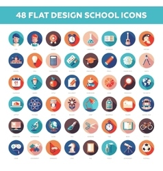 set modern flat design school college icons vector image