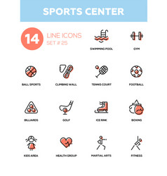 sportins center - modern simple icons pictograms vector image