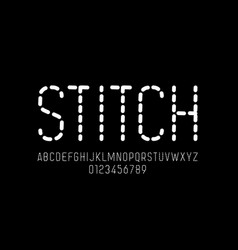stitch style font stitched alphabet letters and vector image