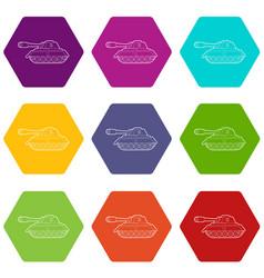 Tank icons set 9 vector