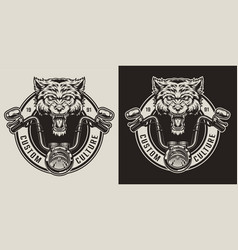 Vintage angry wolf biker mascot badge vector
