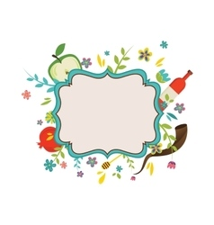 vintage frame surrounding with flowers and Rosh vector image