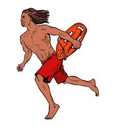 water rescuer hawaiian man runs to aid of vector image