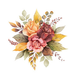 Watercolor autumn arrangement with roses vector