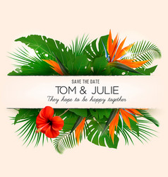 Wedding invitation desing with exotic leaves and vector