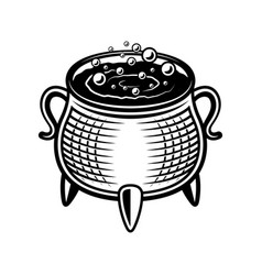 witch pot in monochrome style vector image