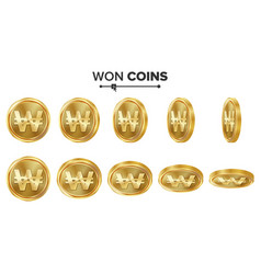 won 3d gold coins set realistic vector image