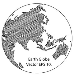world map earth globe line vector image