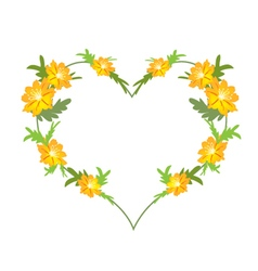 Yellow Cosmos Flowers in A Heart Shape vector