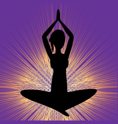 yoga banner with sitting girl silhouette black vector image