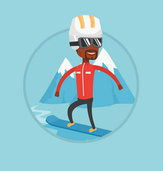 young man snowboarding vector image