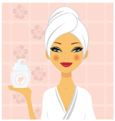 Beautiful woman holding cream vector image vector image
