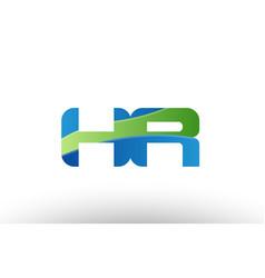 blue green hr h r alphabet letter logo vector image