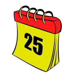 calendar 25 number icon cartoon vector image