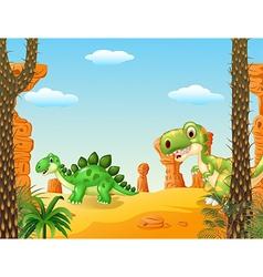 Cartoon stegosaurus with tyrannosaurus vector