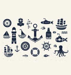collection of vintage marine elements vector image vector image