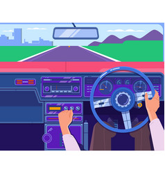 driving a car on the highway car on the road a vector image