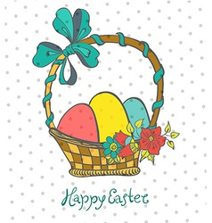 Easter card with eggs in basket and flowers vector image vector image