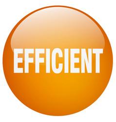 Efficient orange round gel isolated push button vector