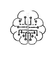 Figure anatomy brain with circuits digital vector