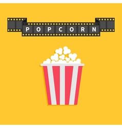 Film strip ribbon line with text popcorn red white vector