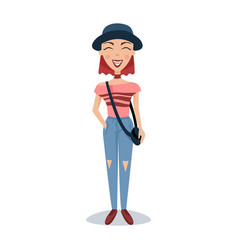 smiling female student in fashionable clothes and vector image