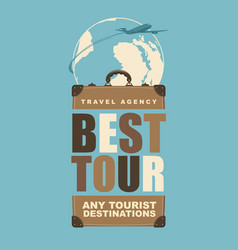 travel banner with a suitcase and planet earth vector image