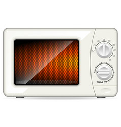 White plastic microwave oven mechanical control vector
