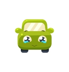 Begging green car emoji vector