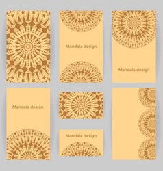 collection of templates with mandalas vector image vector image