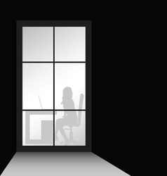 girl in office front of window vector image