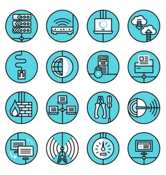 Network icons set blue line vector image