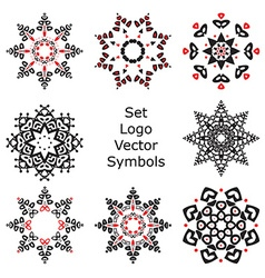 Set Hand drawing zentangle mandala logo symbols vector image vector image