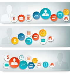 Set of business banners with colorful icons vector image vector image