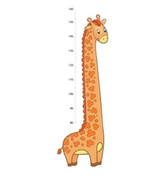 stadiometer Cheerful children giraffe meter wall vector image